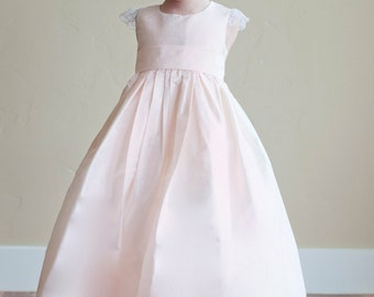 163b50f8a17 The Darcy Flower Girl Dress in Blush Pink available in 140 pure silk colours .