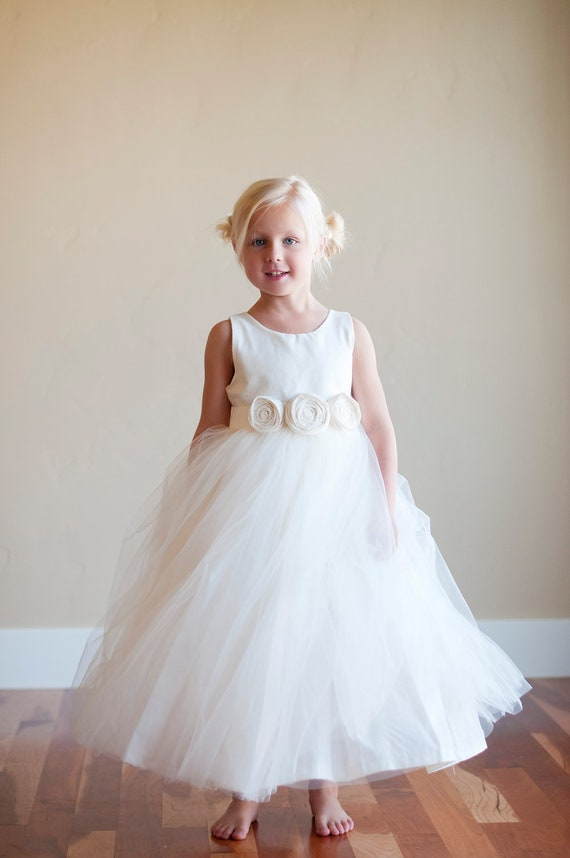Flower girl dress ivory flower girl dress white flower girl | Etsy