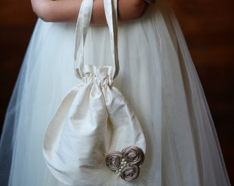 The Regency Purse. Pure silk Flower girl purse for wedding. Flower girl bag in 140 colours