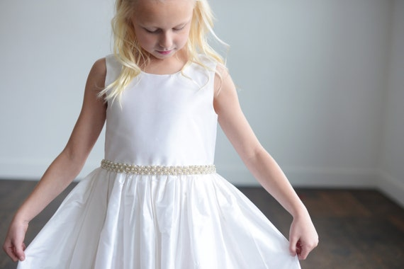 Pure silk first communion dress or flower girl dress in ivory or white with pearl detail