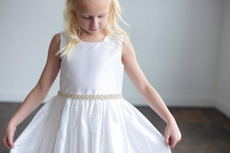 de74ee21234 Pure silk first communion dress or flower girl dress in ivory