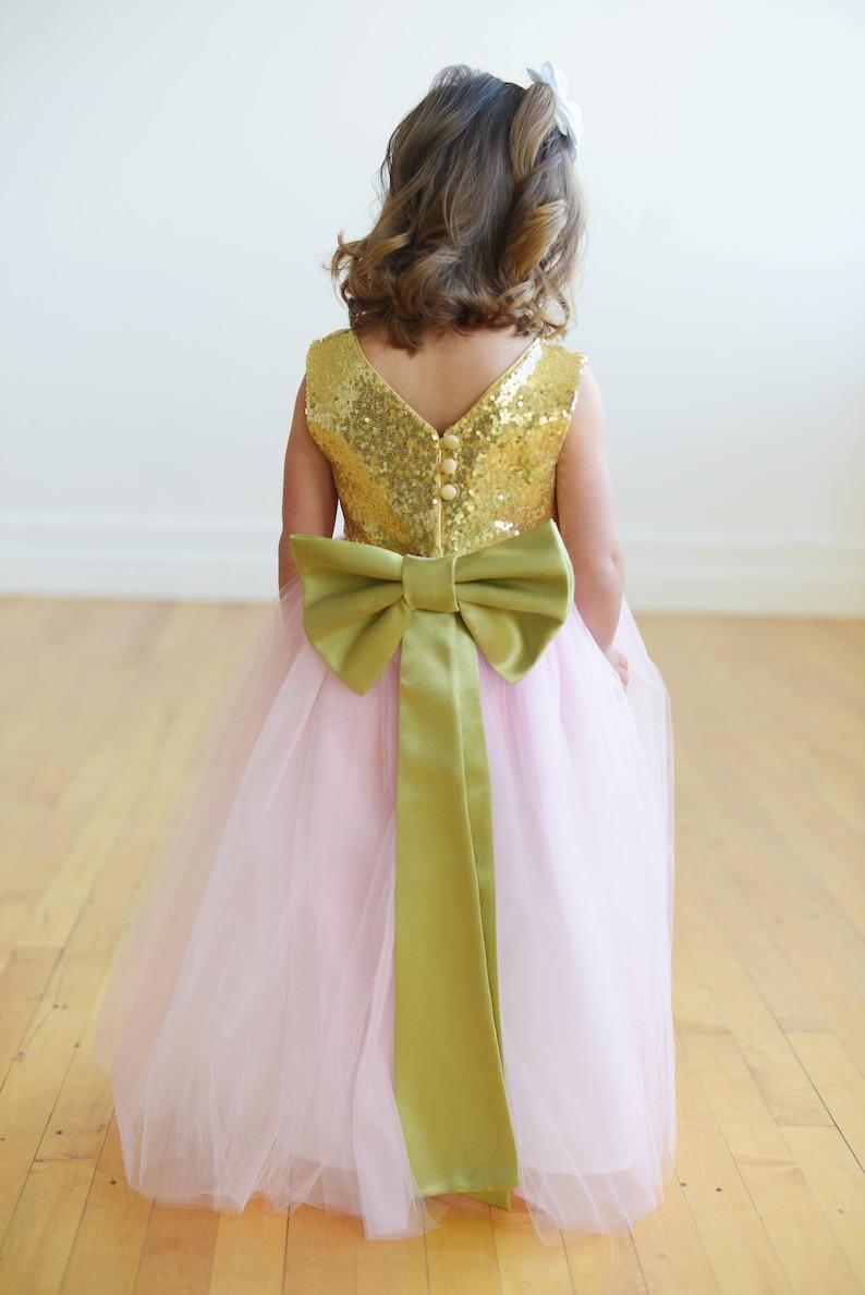 53313d54944 The Elisa Flower Girl Dress  Gold Flower Girl Dress Pink
