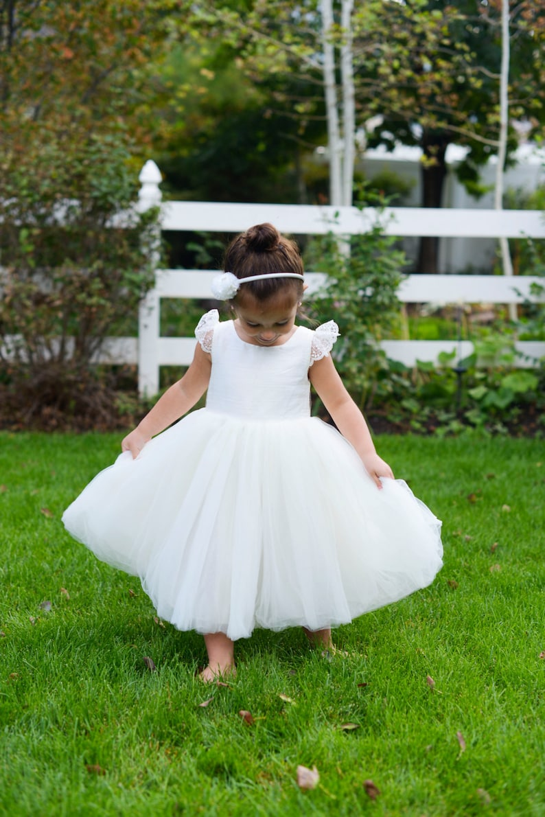36a0461a2fd Flower girl dress in ivory or white silk