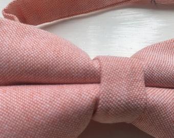 Salmon pink cotton pre tied bow tie