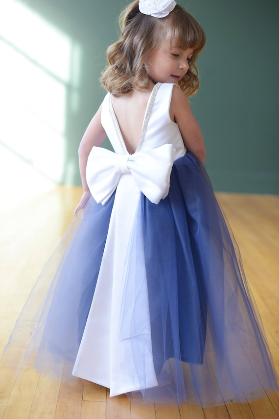 The Maria Flower Girl Dress, Blue Flower Girl Dress, Tulle Flower Girl Dress, V Back, White Dress