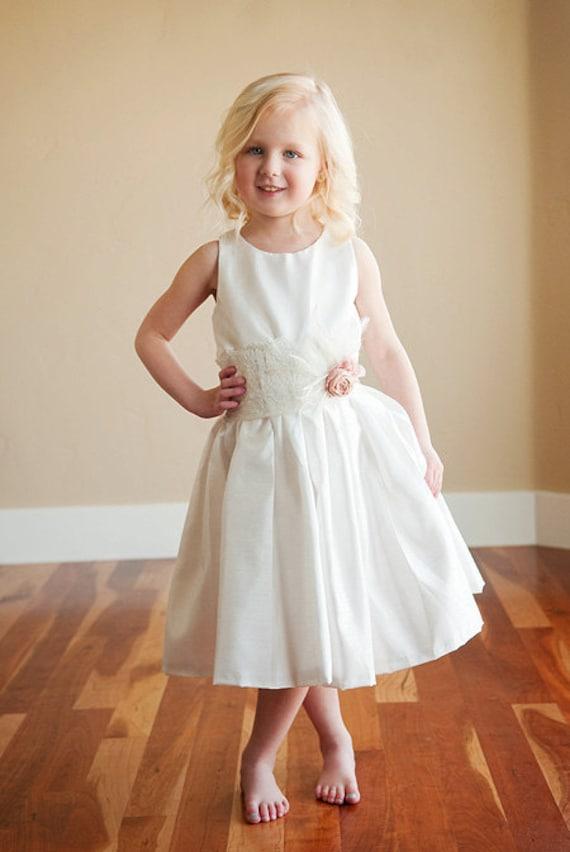 Nottingham Lace: Flower girl dress for wedding in cotton, silk or satin. 1920s flower girl dress. Bridesmaid dress. WORLD WIDE SHIPPING