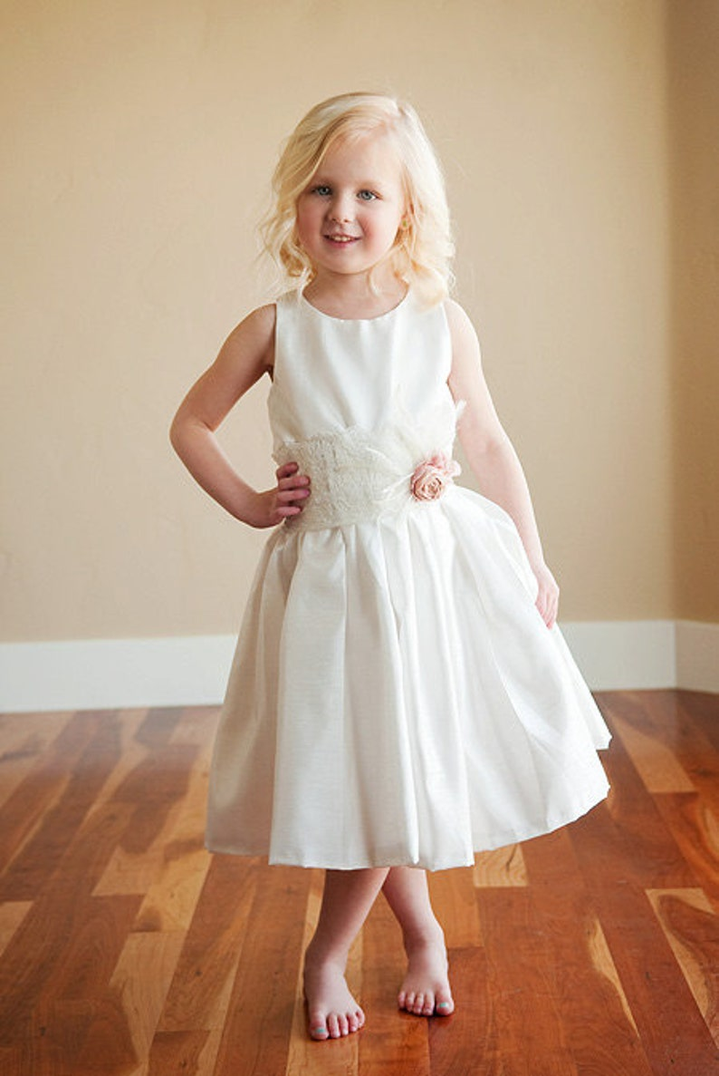Flower Girl Dress with Lace and Rhinestone