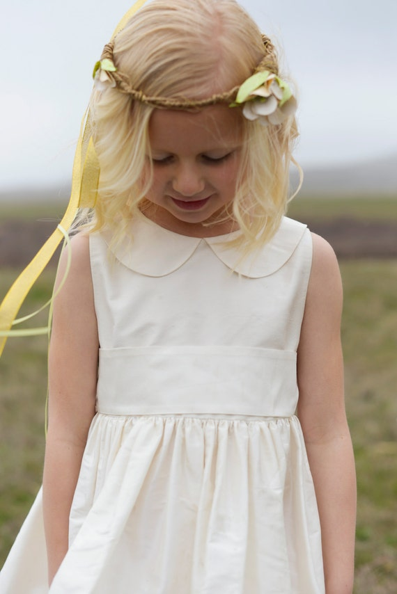 Pure Silk Flower Girl Dress Peter Pan Collar In Many Colours Etsy