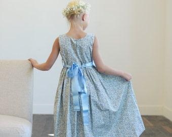 Blue floral print flower girl dress