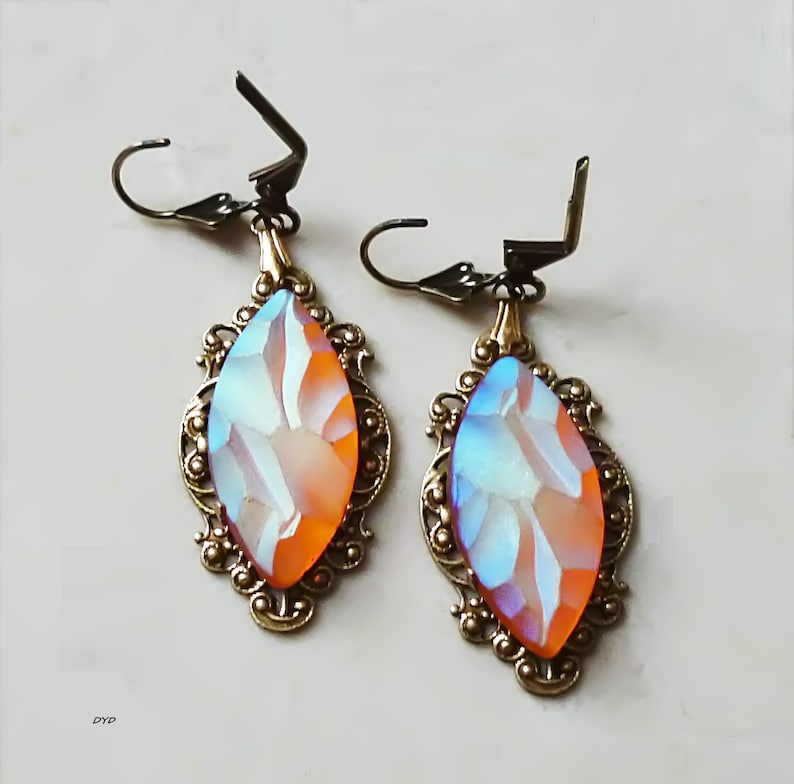 Earrings Fiery Navette Dangle