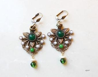 Earrings - Green and White Dangle
