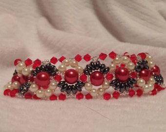 8 inch Red Swarovski beaded bracelet.