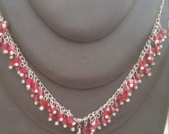 Handmade 19 inch red beaded necklace