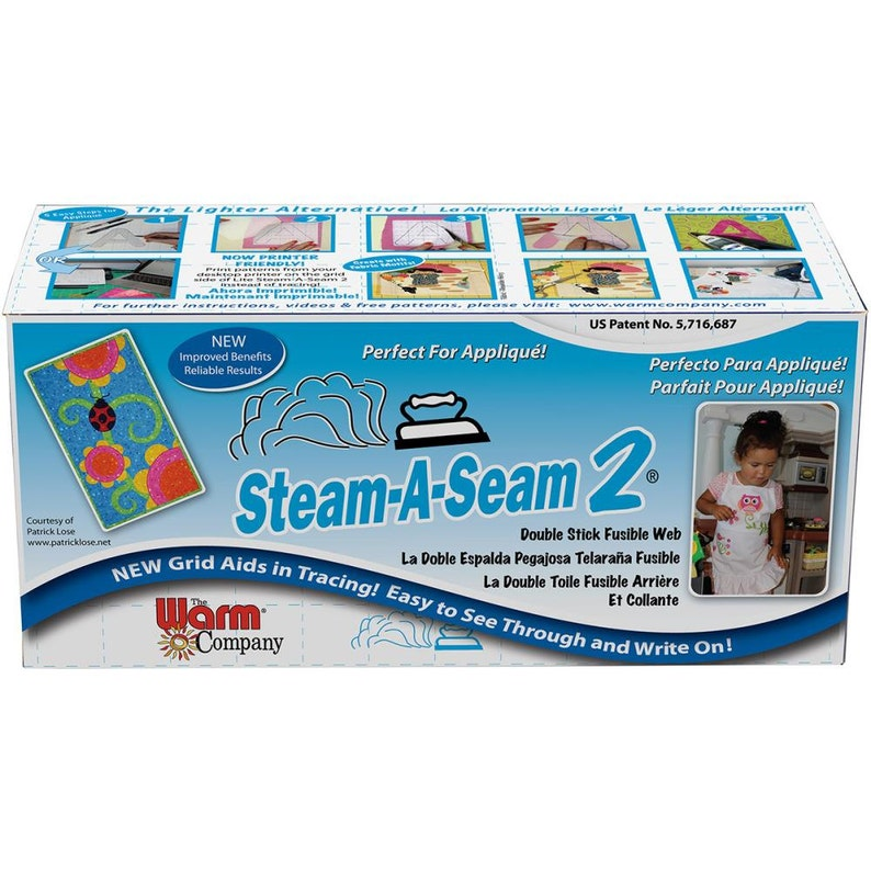 Steam-A-Seam 2 Double Stick Fusible Web Applique Adhesive by the Yard Sewing Fusible 18 x 36 5540
