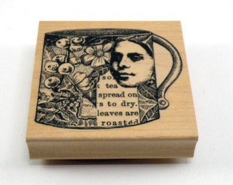 Unmounted Rubber Stamp Wood Mounted Stamp Lady Collage Cup Rubber Stamp Cling Rubber Stamp