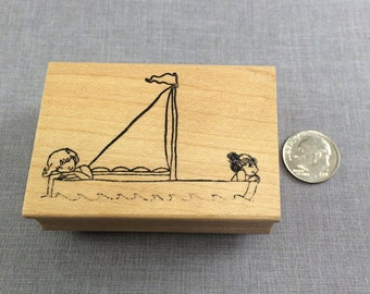 Sail with Me Little Ladies Rubber Stamp