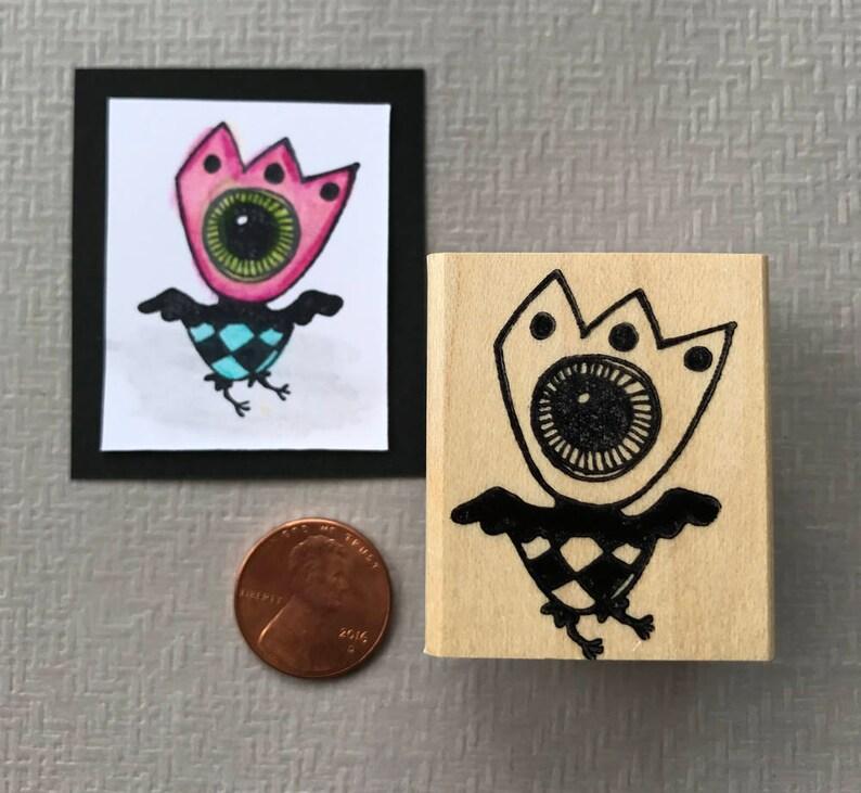 One Eyed Bird Rubber Stamp