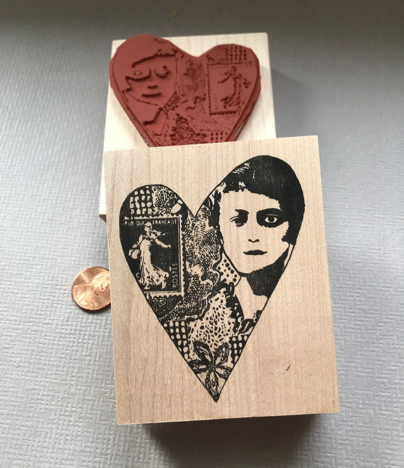 Collage Heart Face Rubber Stamp Unmounted RubberStamp EZ Cling Stamp Collage Rubber Stamp