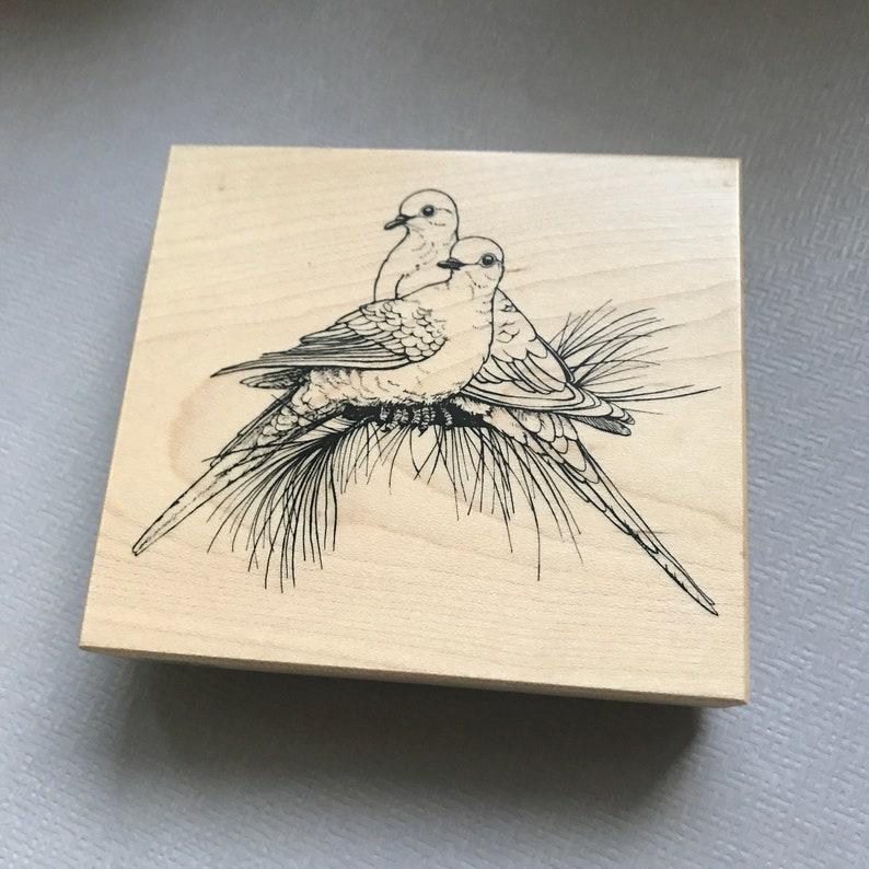 Vintage PSX Mourning Doves Birds Wood Mounted Rubber Stamp 1995