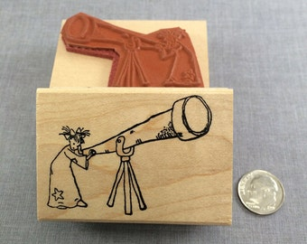 Little Lady Telescope Rubber Stamp