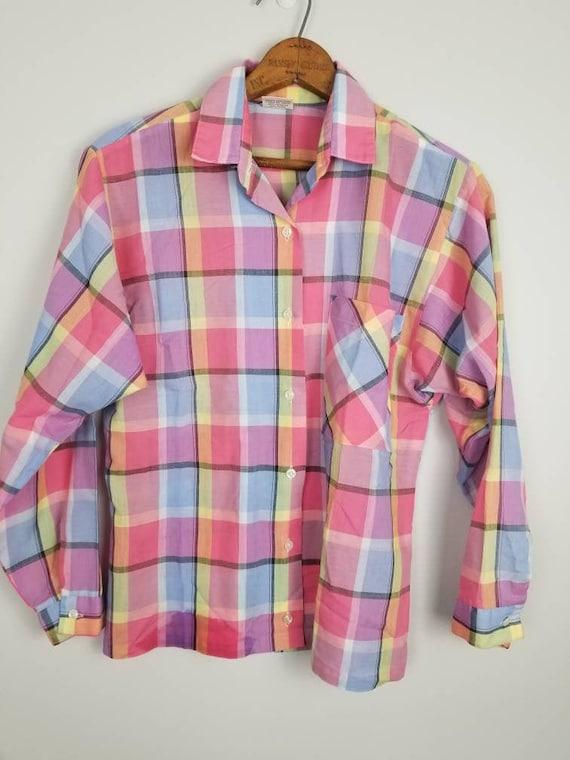 80s rainbow plaid button down shirt madras plaid l