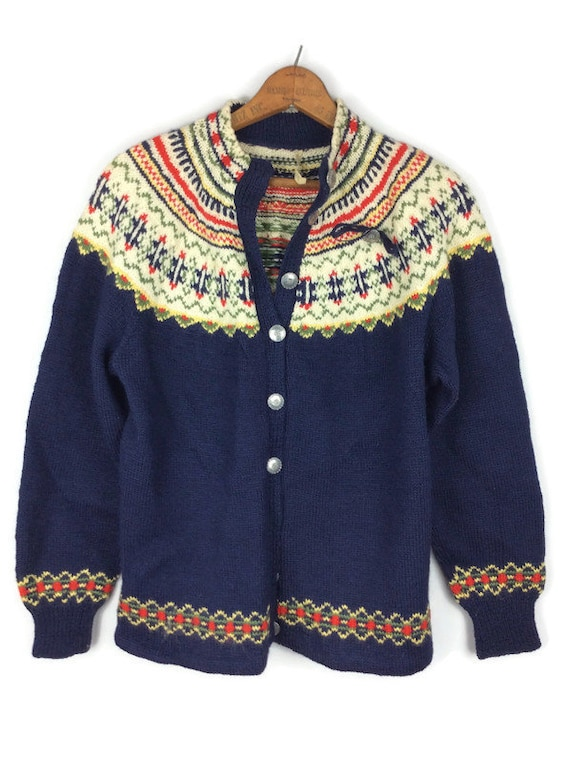 Vintage Navy Blue Fair Isle Cardigan Sweater Handk