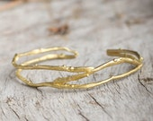 organic golden bracelet, sea salt trace bracelet, sea waves cuff, gift for her, natural golden cuff, boho chick bracelet, organic gold cuff