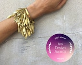 Jewelry Category Winner: Etsy Design Awards 2020 - seed dangle bracelet, little gold leafs bracelet, mobil bracelet, nature inspired