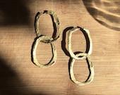 golden rustic chain earrings, two hoop hearings, adjustable earrings long-shot, organic golden hoop earrings, gift for her, etsy favorite