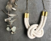 nautical knot necklace, white cotton necklace, summer look necklace, beach necklace, big necklace, fresh look, summer party necklace, new