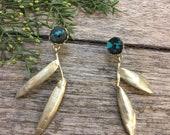 Turquoise and araucaria dangle earrings, araucaria long earrings, two leafs long earrings, post long earrings, turquoise and leafs earings