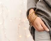 golden bracelet set of 3, organic bangles trio, golden cuff pack, tree bracelet pack, best friend present, minimalist bride