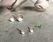 mini bowl earrings, mini earrings, silver post earrings, minimal earrings, extra small silver earrings, graduation gift, confirmation gift