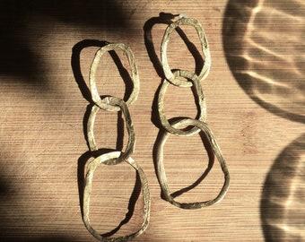 long golden rustic chain earrings, organic golden big chain earrings, gift for her, woman liberation earring, long chain earring, etsy love
