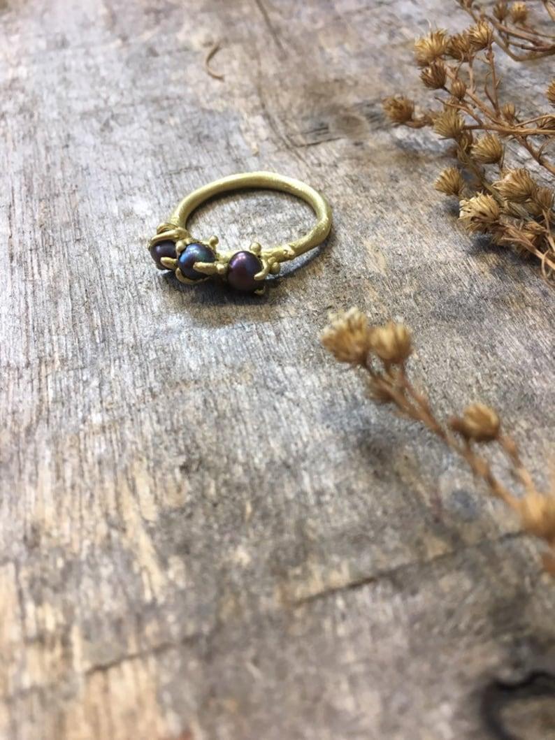 Three black pearl ring real black pearl ring sweet black pearl ring ring of love ring for her handmade crimped ring, maria solorzano