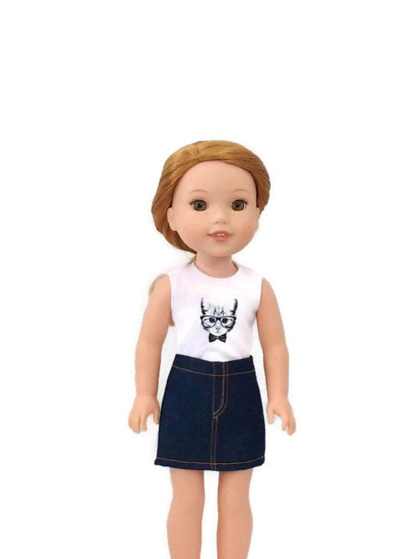 """Denim Jean Skirt fits 14/"""" American Girl Wellie Wishers Wisher Doll Clothes"""