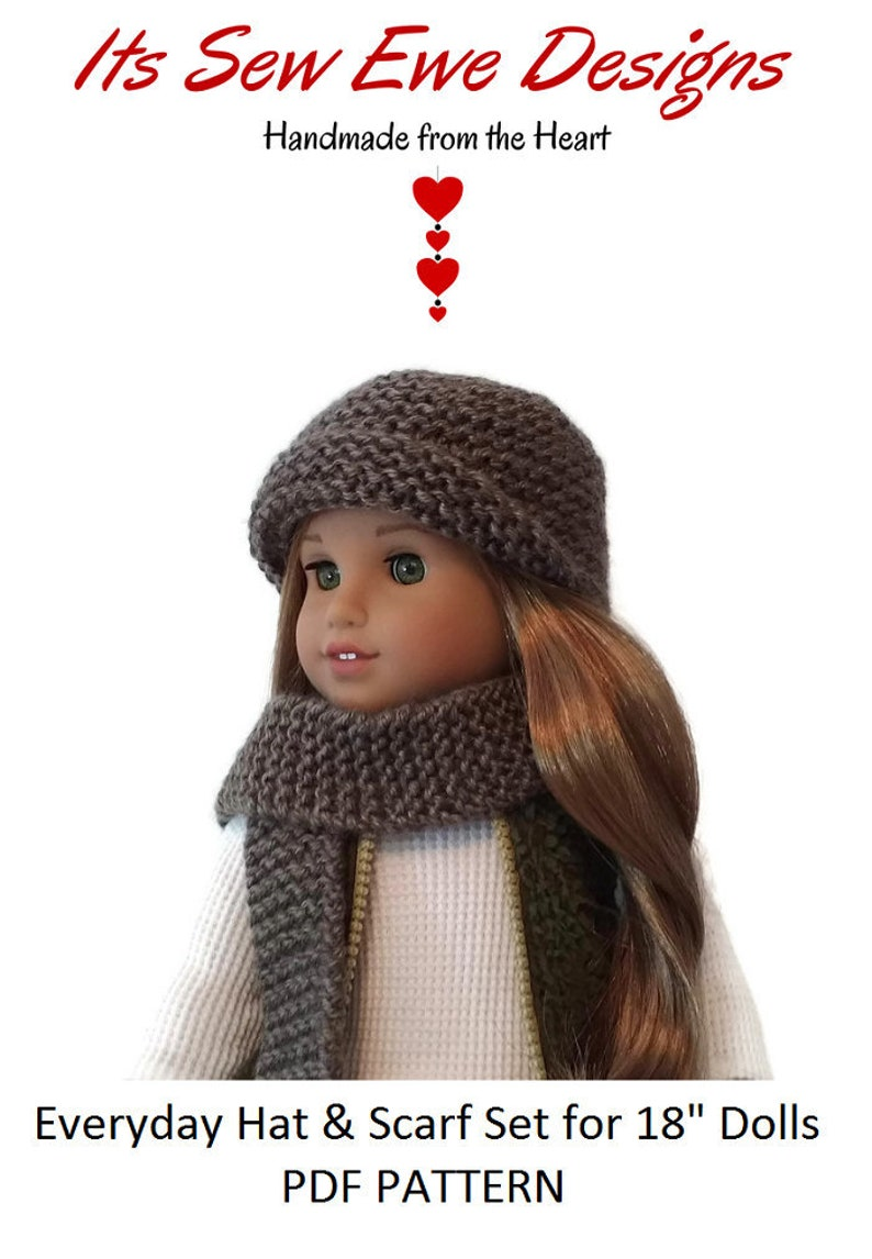 Everyday Hat Scarf Knitting Pattern Fits 18 Dolls Like Etsy