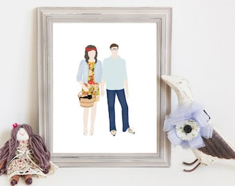 Though Very Humble : Custom Lovebirds Hand in Mine 8x10 Portrait Illustration