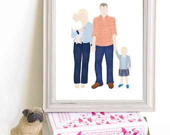 Though Very Humble : Custom Family of Four 8x10 Portrait Illustration