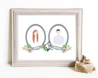 Though Very Humble : Custom Succulent Cactus Cameo Wedding 8x10 Portrait Illustration
