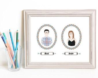 Though Very Humble : Custom Southwestern Arrow Cameo Wedding 8x10 Portrait Illustration