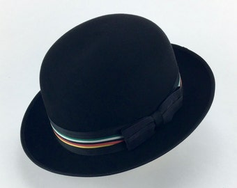 black bowler or derby hat 100% beaver fur felt with vintage striped ribbon  and taylored bow 63414436eb7a