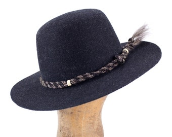 grey heathered fur felt open crown hat with twisted horsehair hatband 010e36247fe0