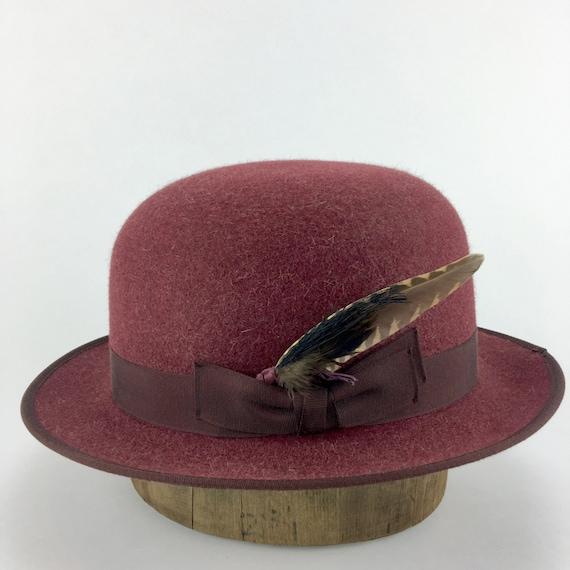 burgundy heathered rabbit fur felt bowler or derby hat with  a9093fdaa9a