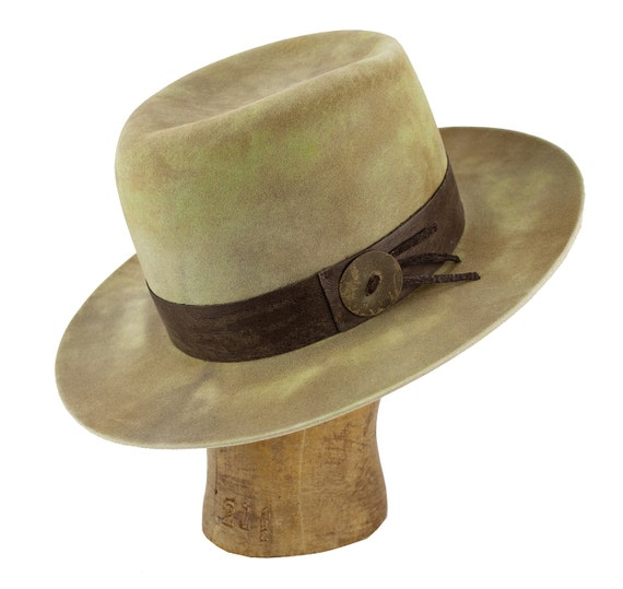 hand-dyed beaver blend fur felt mens western hat with custom  8a107274646
