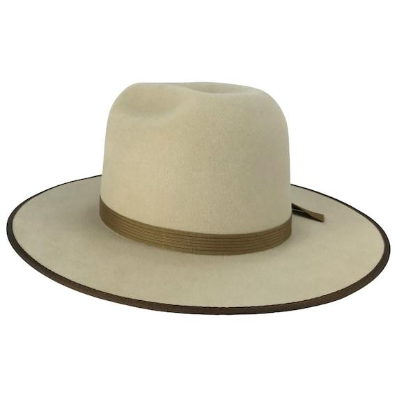 hand dyed open crown beaver fur felt hat w bound brim /& grosgrain ribbon hatband w star accents night sky  7 14