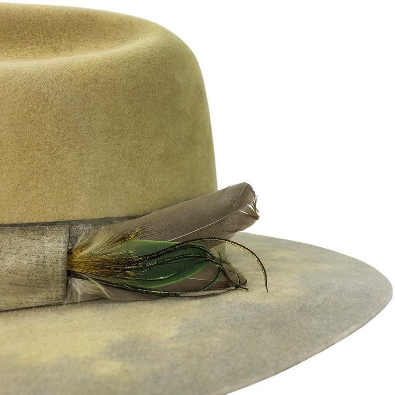 hand dyed flat brim cattleman crease beaver fur felt hat w custom leather hatband w feathers honey flavored  7 12-7 58
