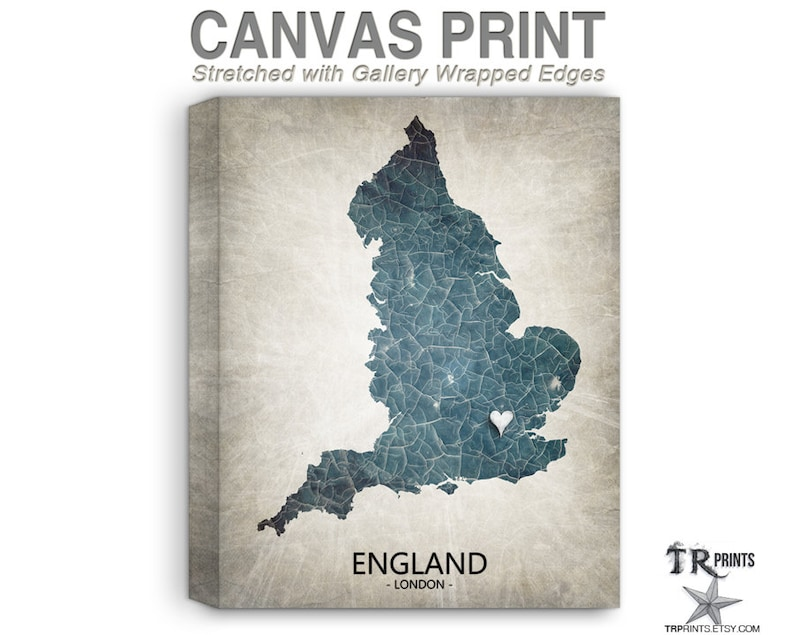 England Map Stretched Canvas Print Home Is Where The Heart | Etsy