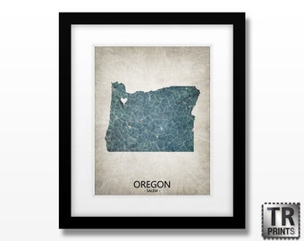 Oregon State Map Print - Home Town Map - Original Custom Map Art Print Available in Multiple Size and Color Options