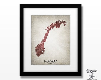 Norway Map Art Print - Home Is Where The Heart Is Love Map - Original Custom Map Art Print Available in Multiple Size and Color Options
